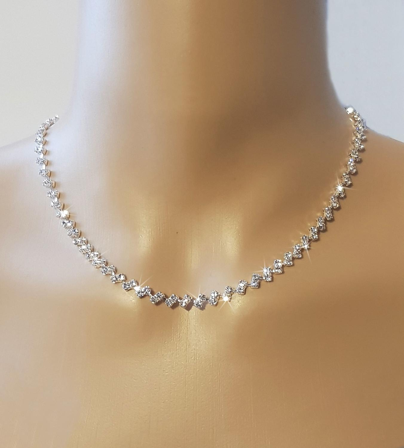 Diamante Classic 2 Row Necklace & Earring Set