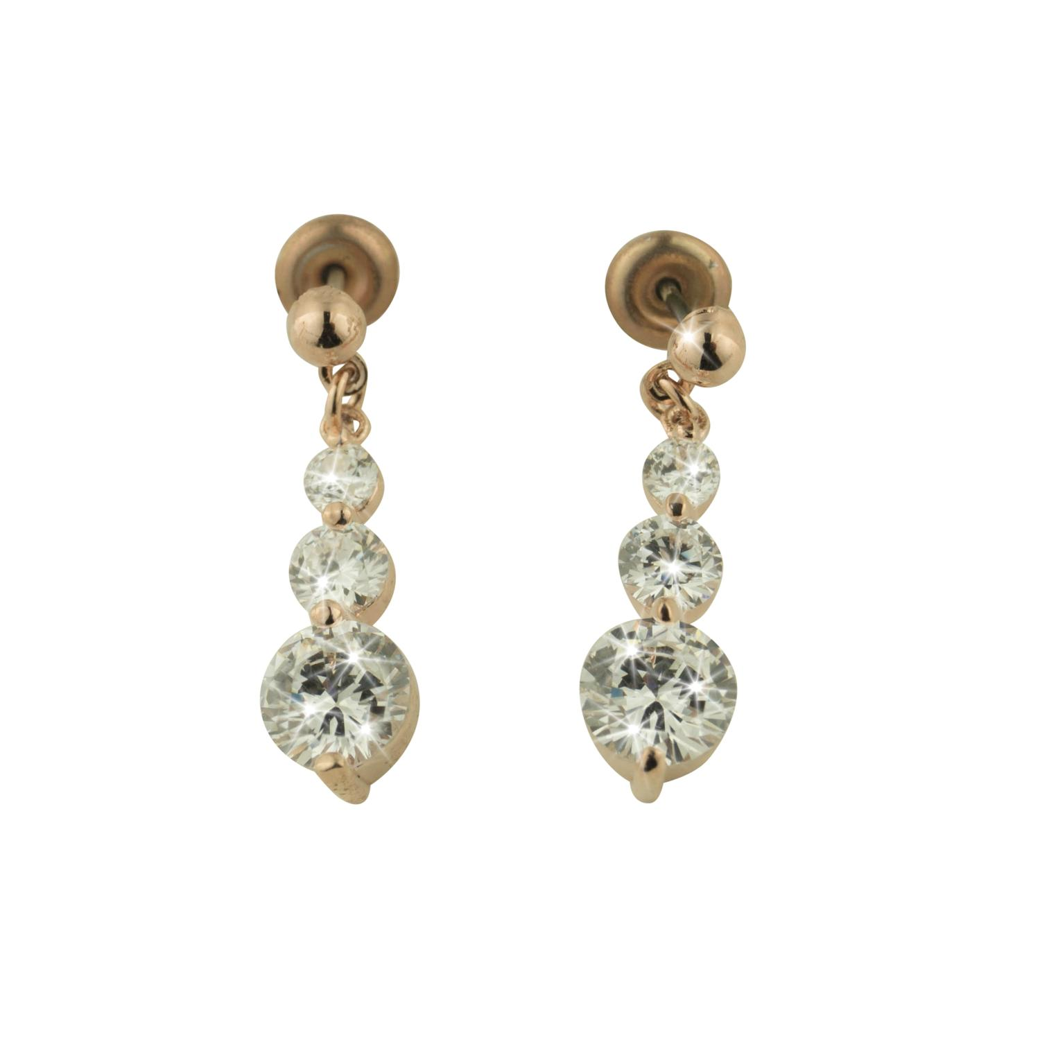 Rose Gold Plated White Crystal Drop Earrings