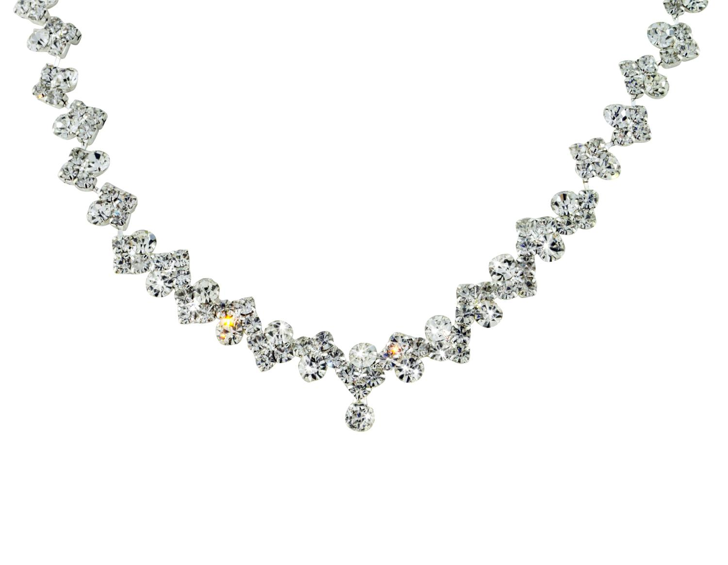 Diamante Sweetheart Shape Necklace & Earring Set