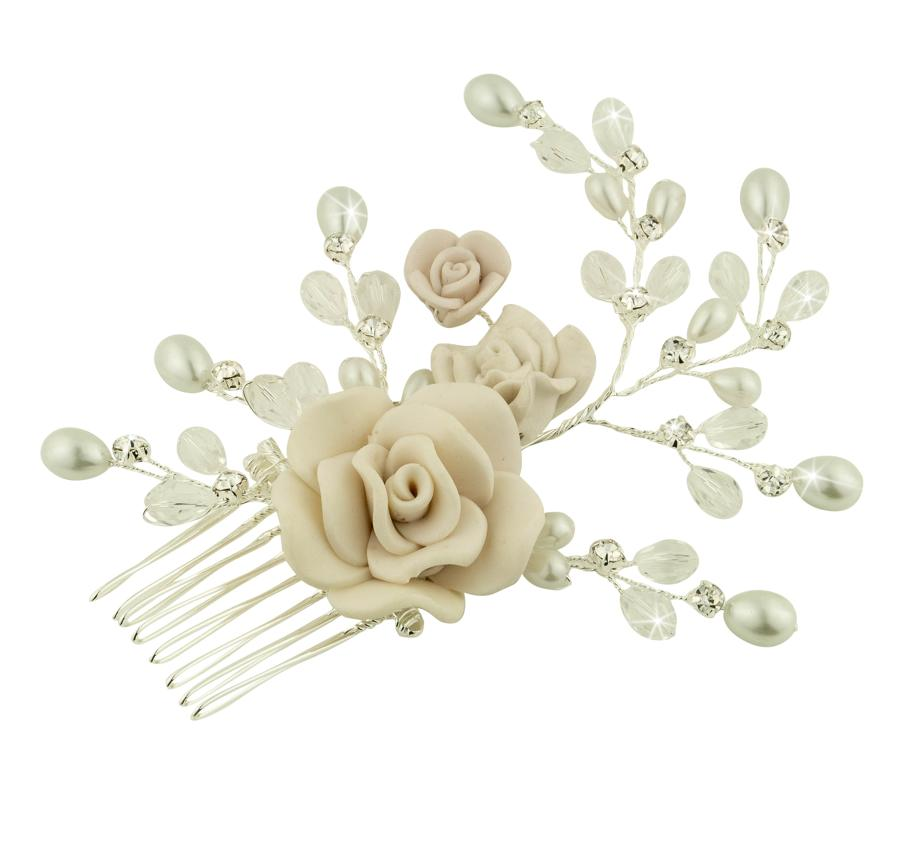 Floral Crystal & Pearl Hair Comb