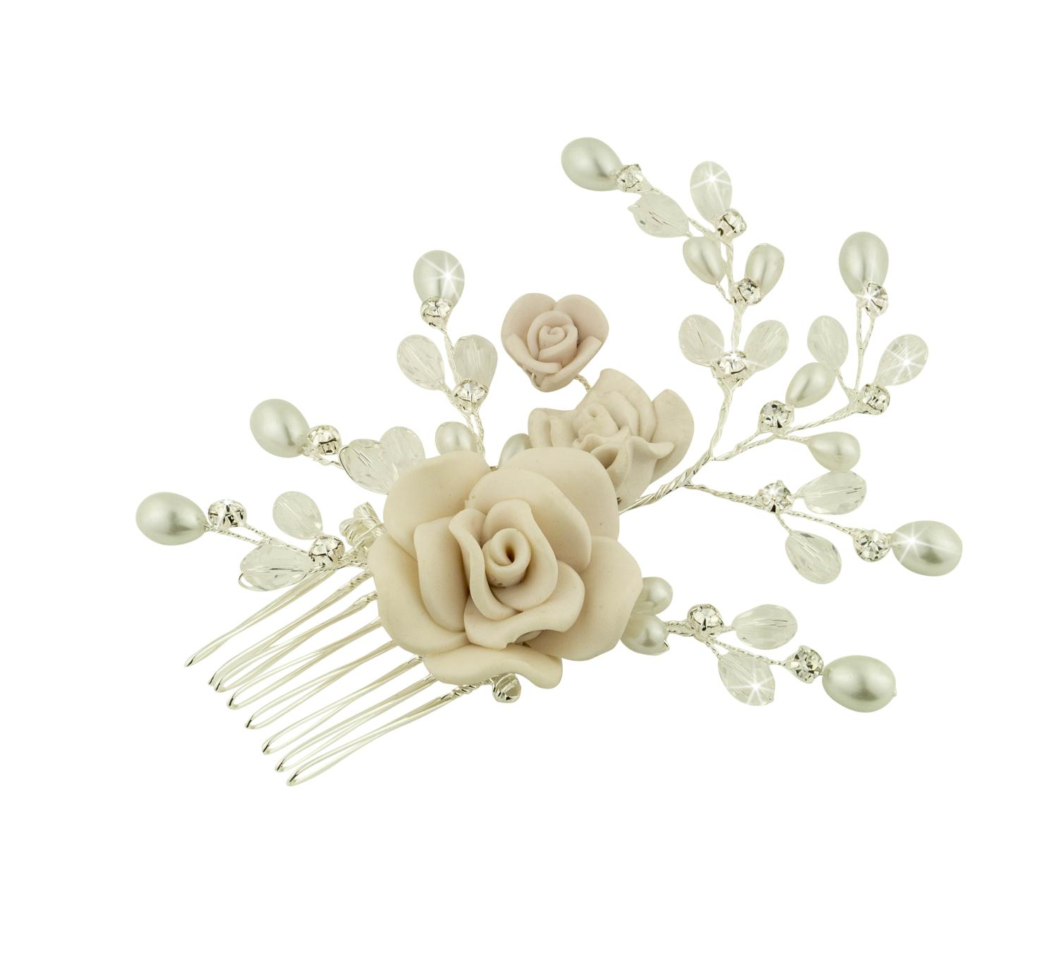 Floral, Crystal & Pearl Hair Comb
