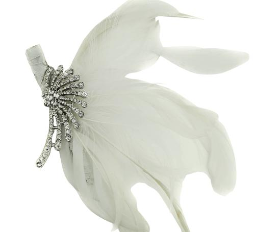 Crystal & White Feather Hair Clip/Fascinator