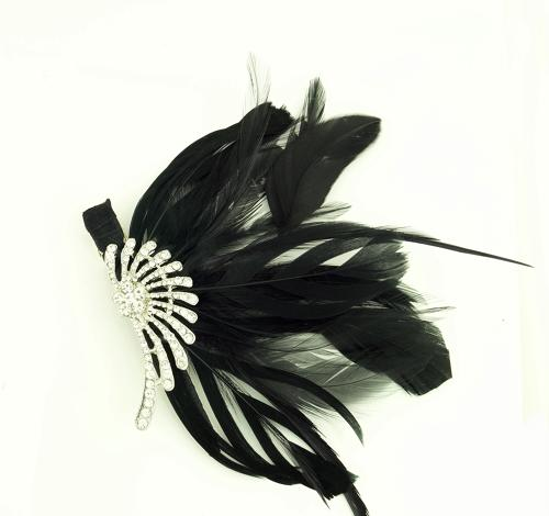 Crystal & Black Feather Hair Clip/Fascinator