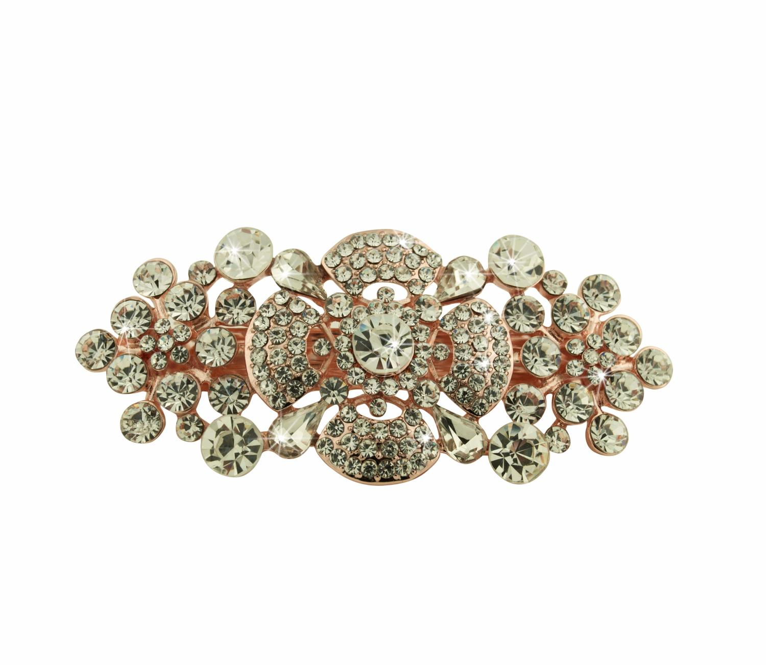 Rose Gold Plated White Crystal Hair Clip