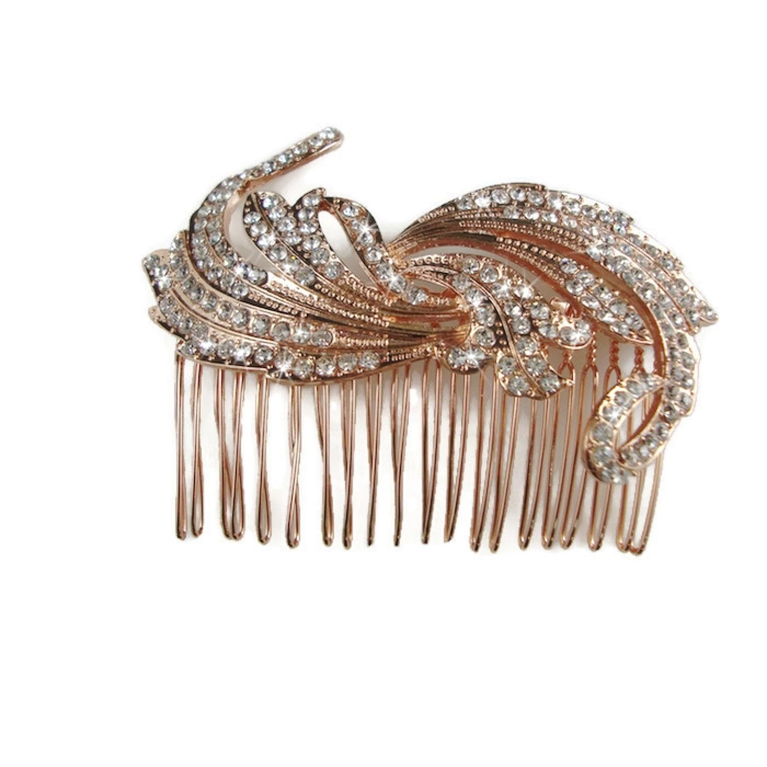 Rose Gold Plated White Crystal Swirl Hair Comb