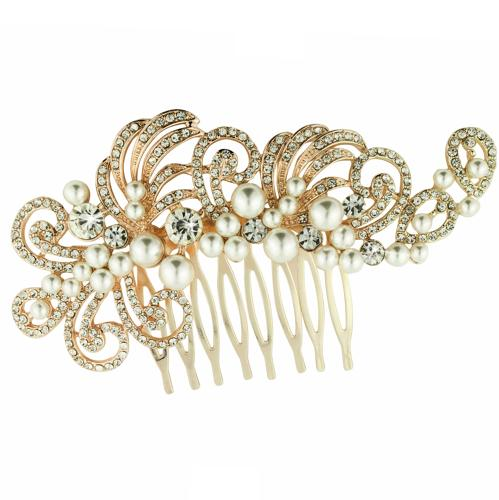 Rose Gold Plated White Crystal & Pearl Hair Comb