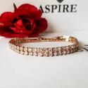 Rose Gold Plated Diamante 2 Row Tennis Bracelet - picture 1