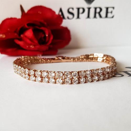 Rose Gold Plated Diamante 2 Row Tennis Bracelet
