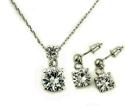 18ct White Gold Plated Double Round Graduated Crystal Set - picture 1