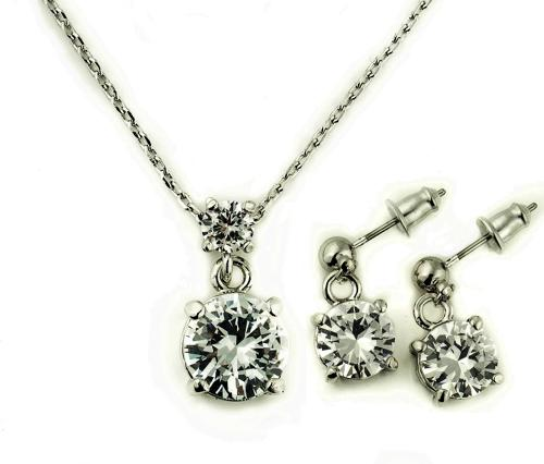 18ct White Gold Plated Double Round Graduated Crystal Set