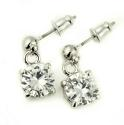 18ct White Gold Plated Double Round Graduated Crystal Set - picture 2