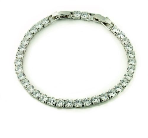 White Gold Plated Diamante 1 Row Tennis Bracelet
