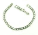 White Gold Plated Diamante 1 Row Tennis Bracelet - picture 2