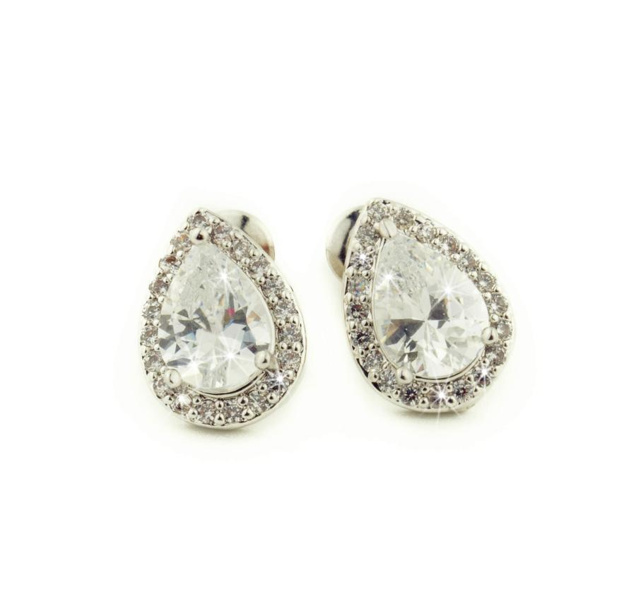 Silver Plated Crystal Teardrop Cluster Stud Earrings