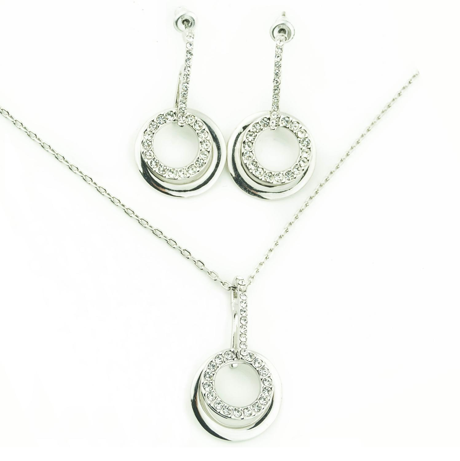 18ct White Gold Plated Crystal Double Loop Set