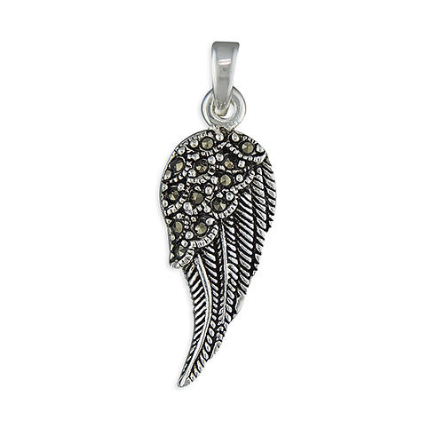 Sterling Silver Marcasite Angel Wing Pendant