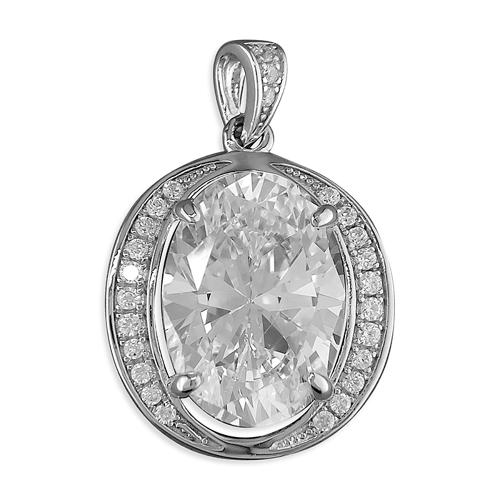 Sterling Silver Oval Cubic Zirconia Cluster Pendant