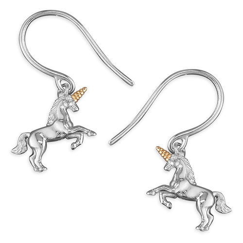 Sterling Silver Unicorn Drop Earrings