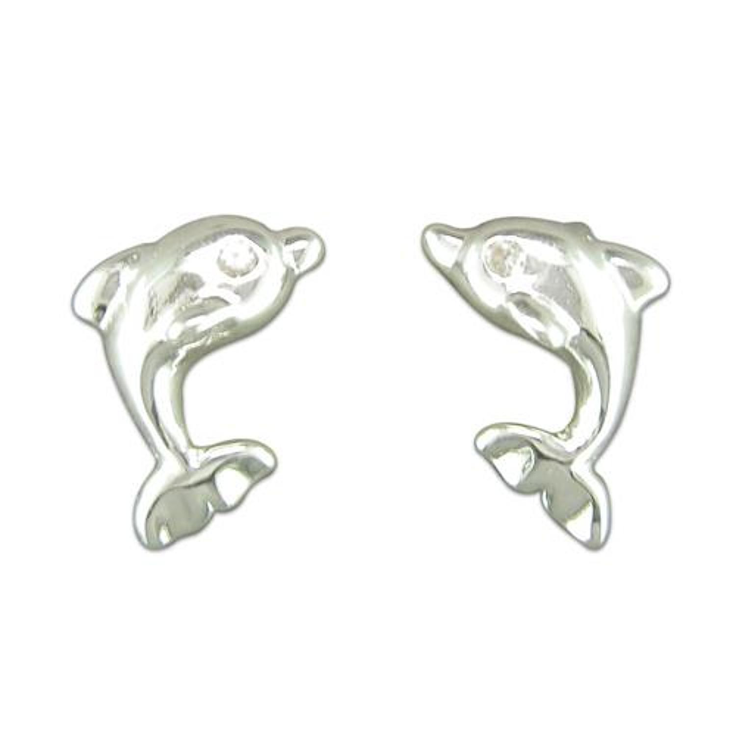 Sterling Silver Dolphin Stud Earrings