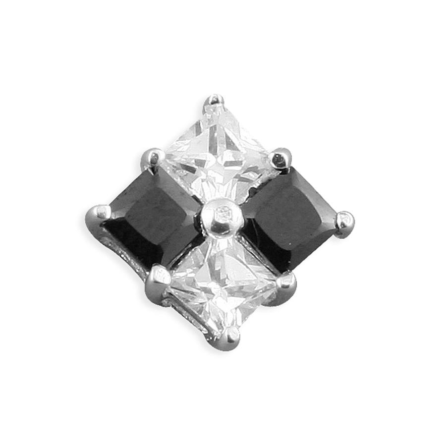 Sterling Silver Men's Black & White Cubic Zirconia Stud Earring