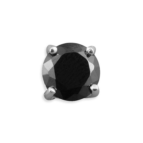 Sterling Silver Men's 6mm Round Black Cubic Zirconia Stud Earring