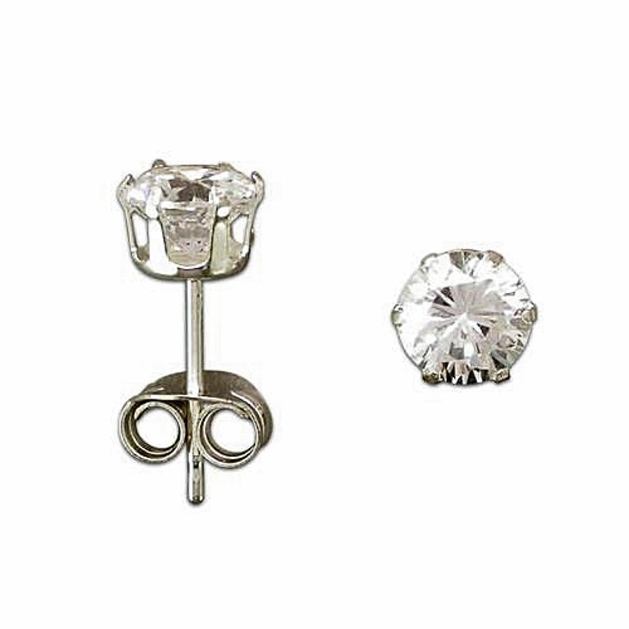 Sterling Silver Men's 4mm Cubic Zirconia Stud Earring