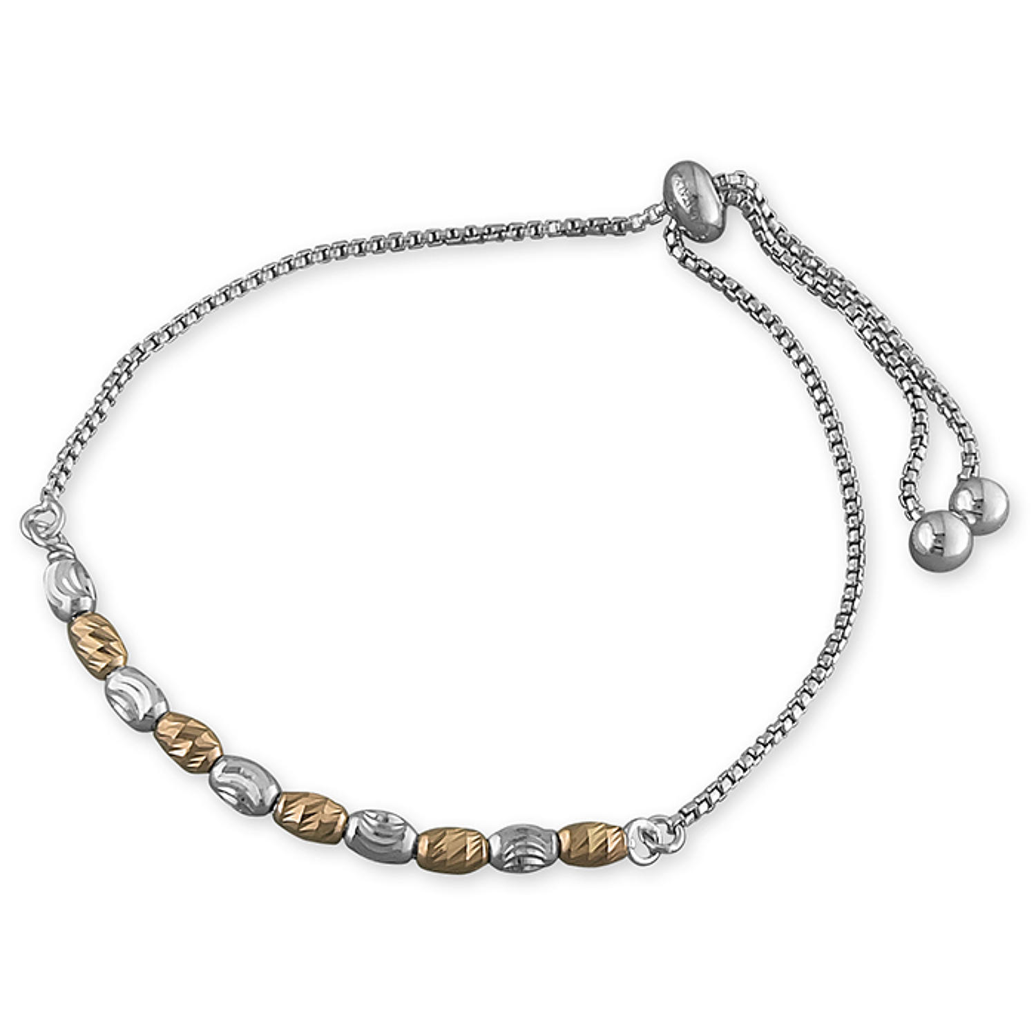 Sterling Silver & Rose Gold Plated Oval Facetted Bead Bracelet