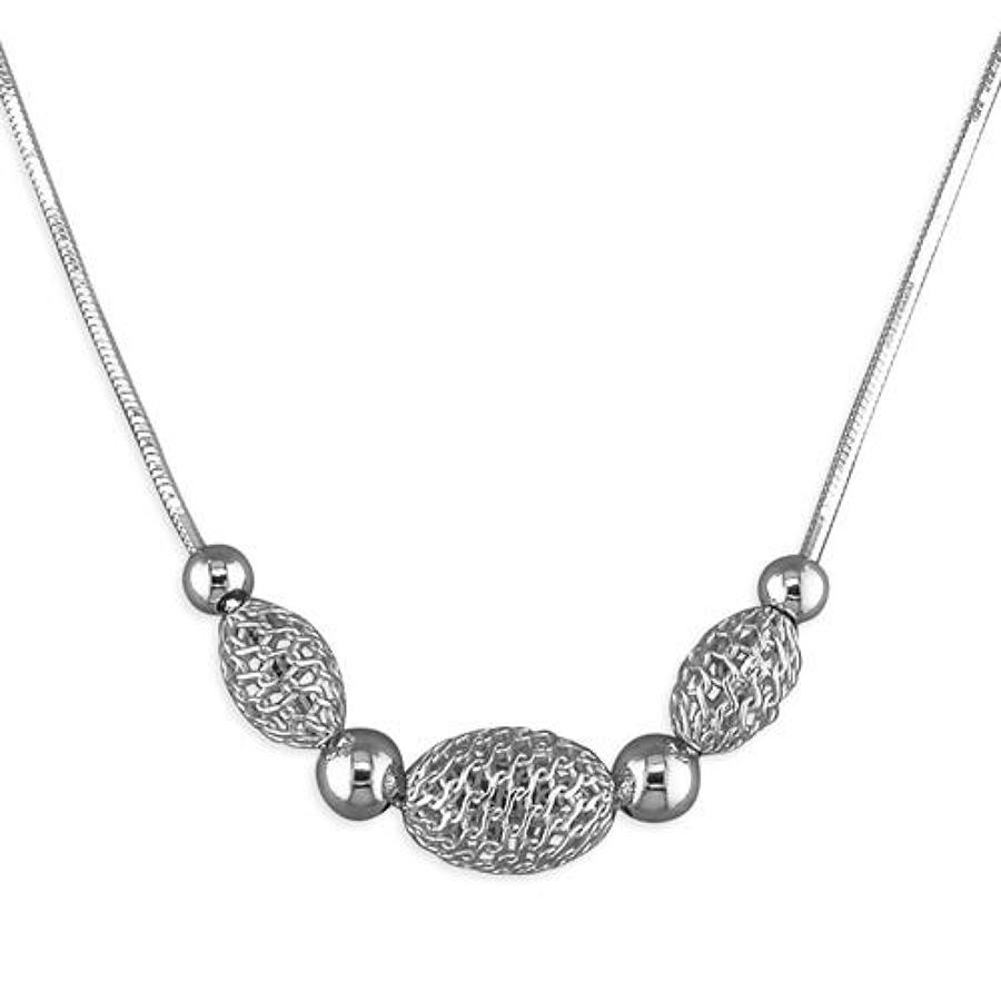 Sterling Silver Cage Bead Necklace