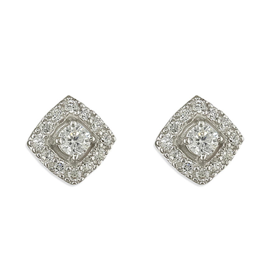 Sterling Silver Cubic Zirconia Square Cluster Stud Earrings