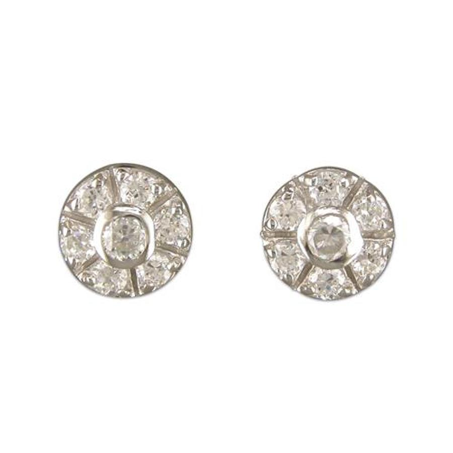 Sterling Silver Cubic Zirconia Cluster Stud Earrings