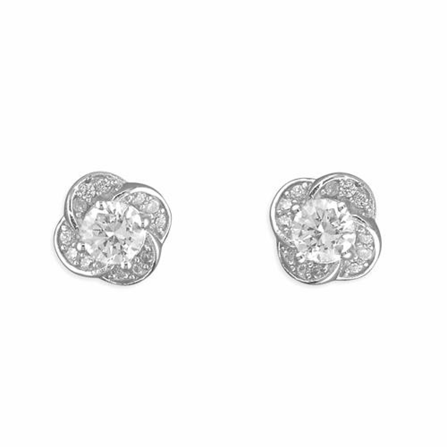 Sterling Silver Cubic Zirconia Flower Cluster Stud Earrings