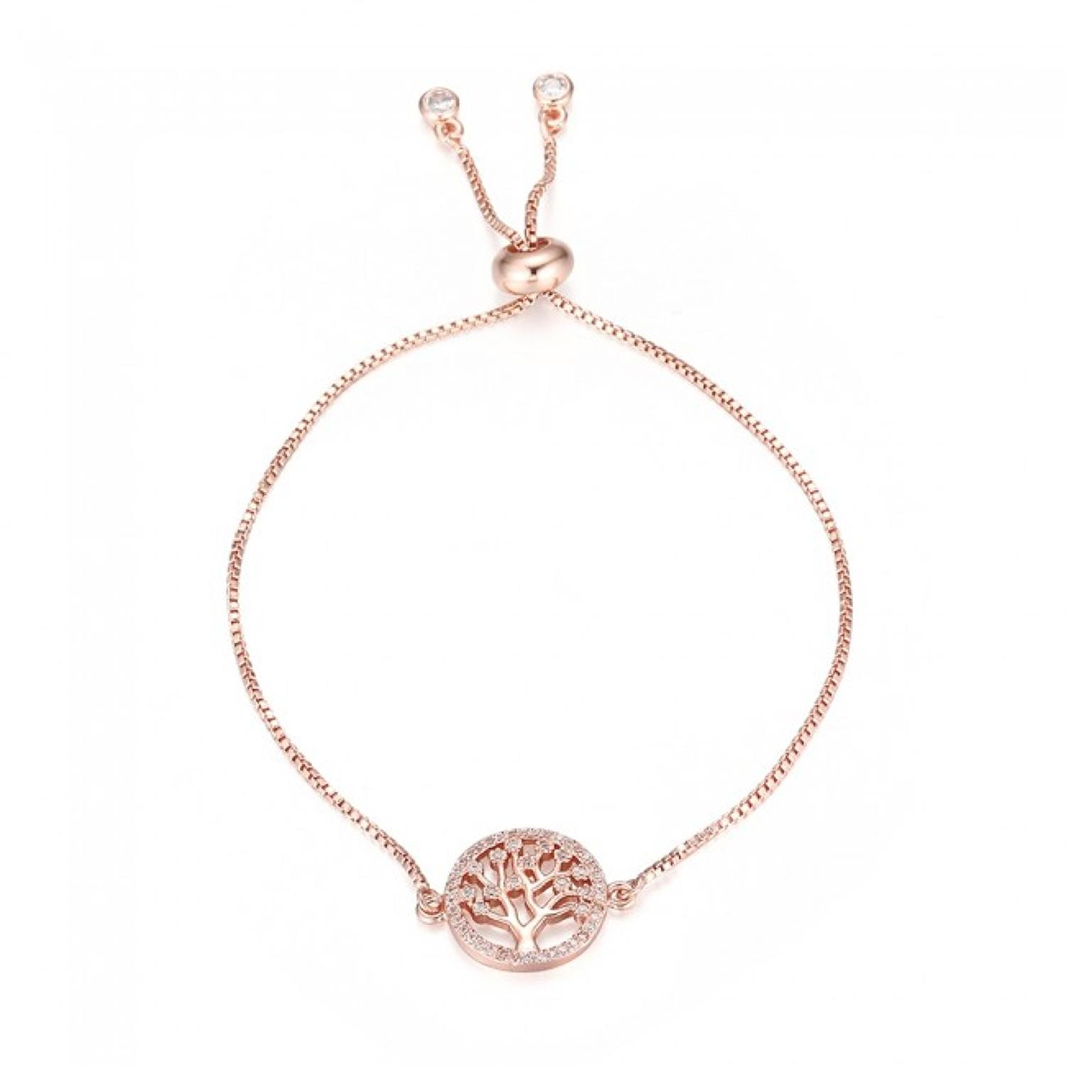 Rose Gold Plated Tree Of Life Slider Bracelet