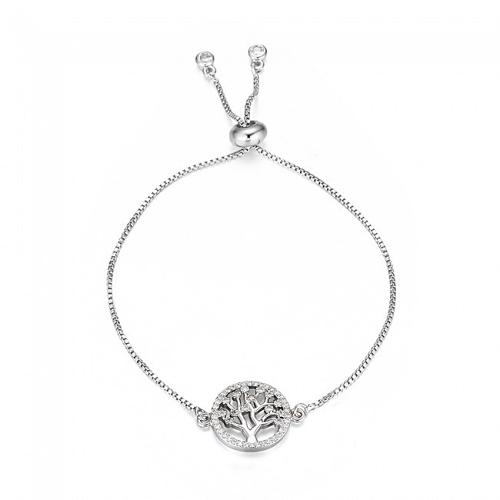 Silver Plated Tree Of Life Slider Bracelet