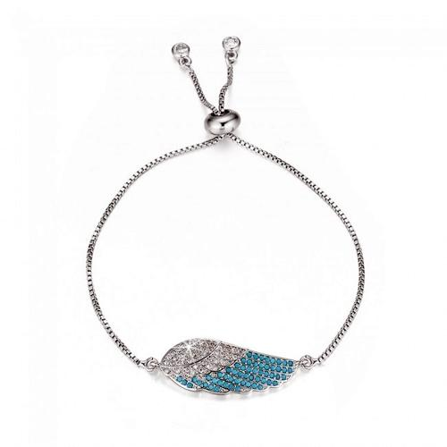 Silver Plated Cubic Zirconia Angel wing Slider Bracelet