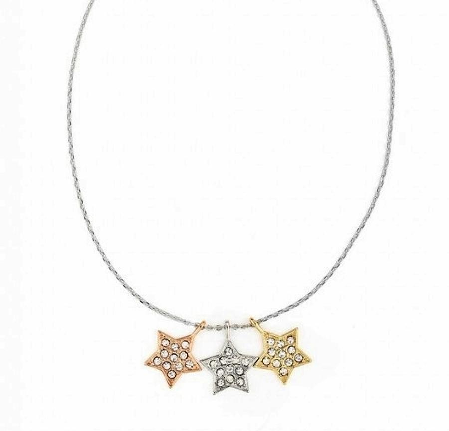 Gold Plated Multi Coloured Triple Stars Pendant