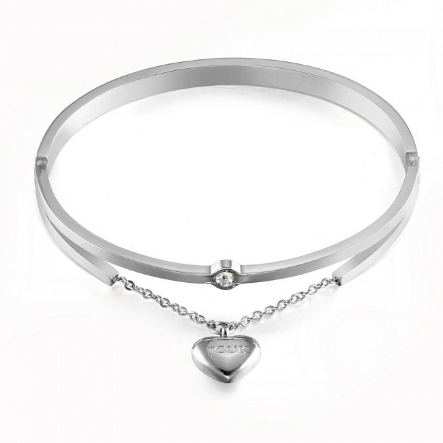 Silver Plated Heart Charm Bangle