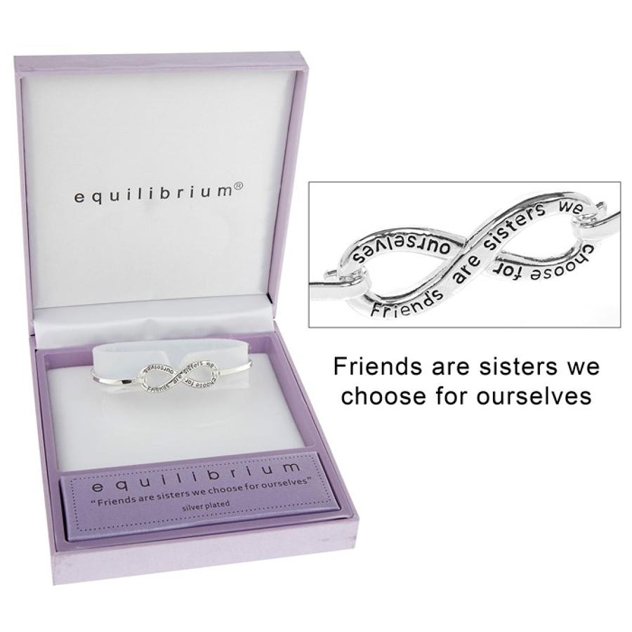 Silver Plated Infinity Friends Are Sisters Bangle