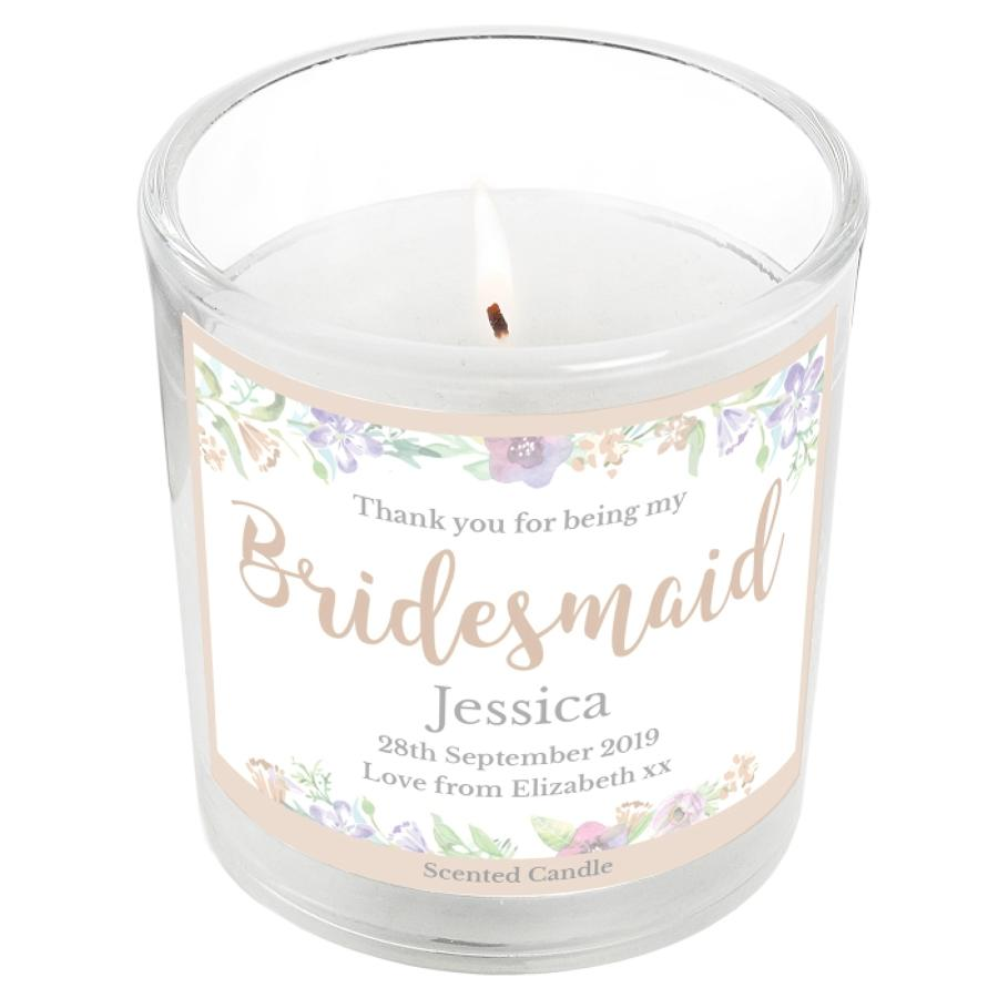 Personalised Floral Watercolour Bridesmaid Wedding Scented Jar Candle