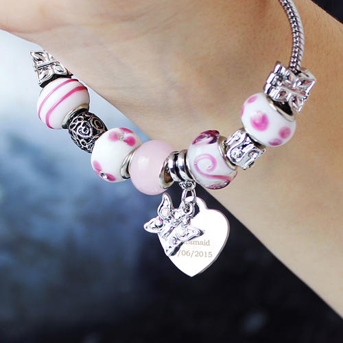 Personalised Butterfly & Heart Charm Pink - 18cm