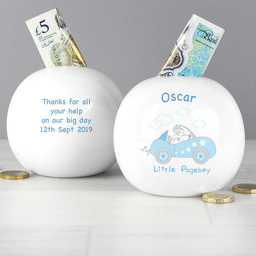 Personalised Little Pageboy in Car Money Box