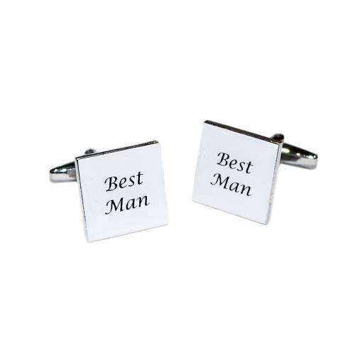 White Square Best Man Wedding Day Cufflinks
