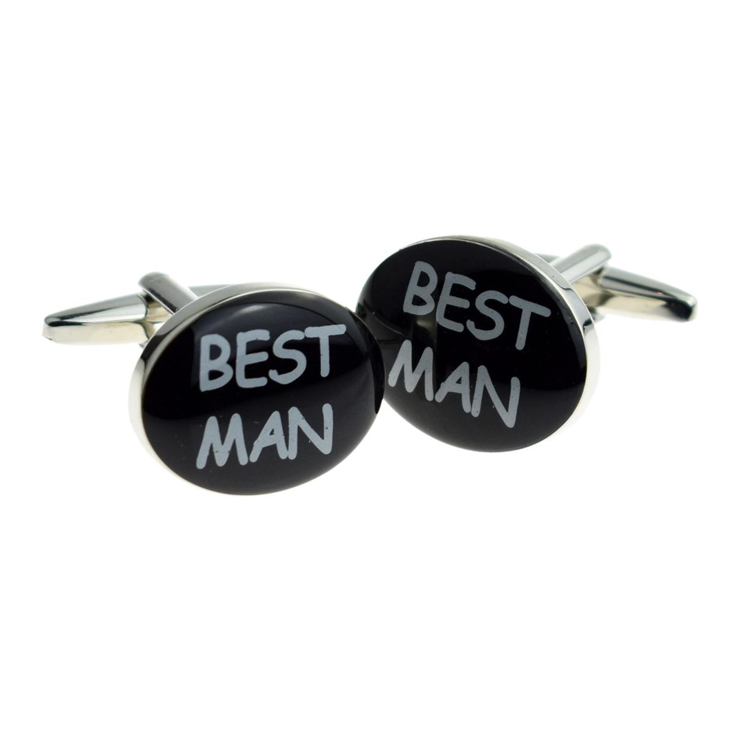 Black Oval Best Man Wedding Cufflinks