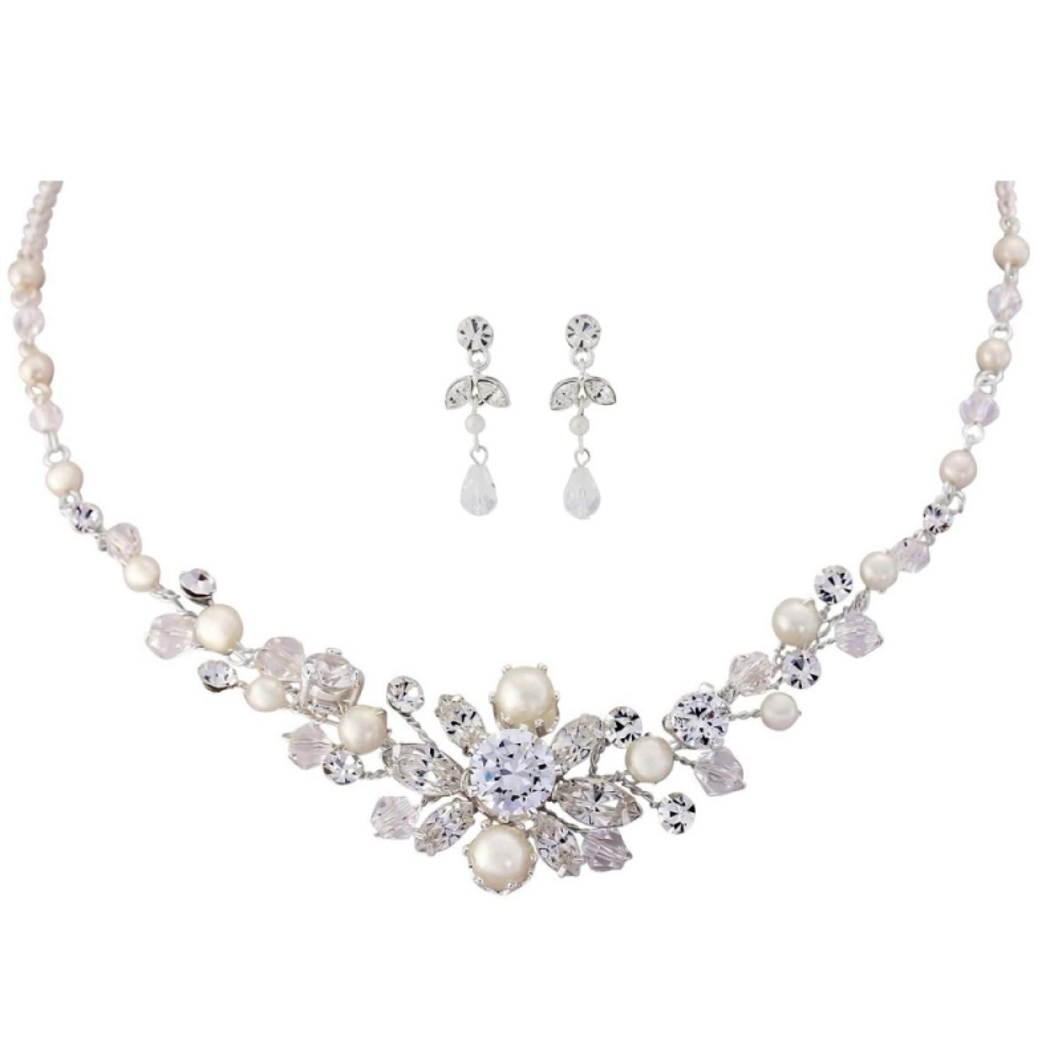 Pearl & Crystal Floral Necklace & Earring Set