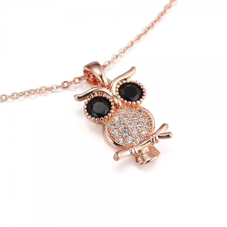 Rose Gold Plated Cubic Zirconia Owl Pendant