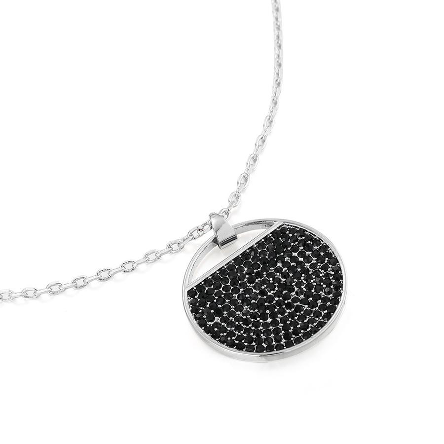 Black Stone Set Circle Pave Pendant & Earring Set