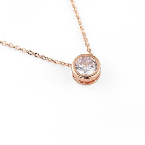 Rose Gold Plated Cubic Zirconia Round Rub-Over Set Pendant