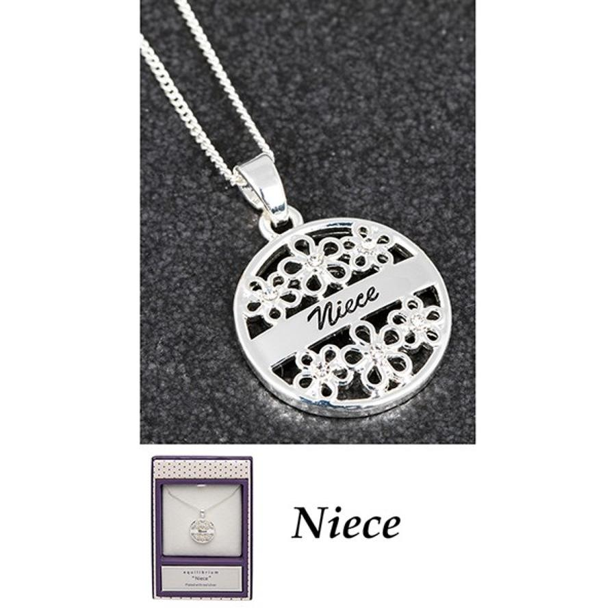 Silver Plated Niece Sentiment Pendant