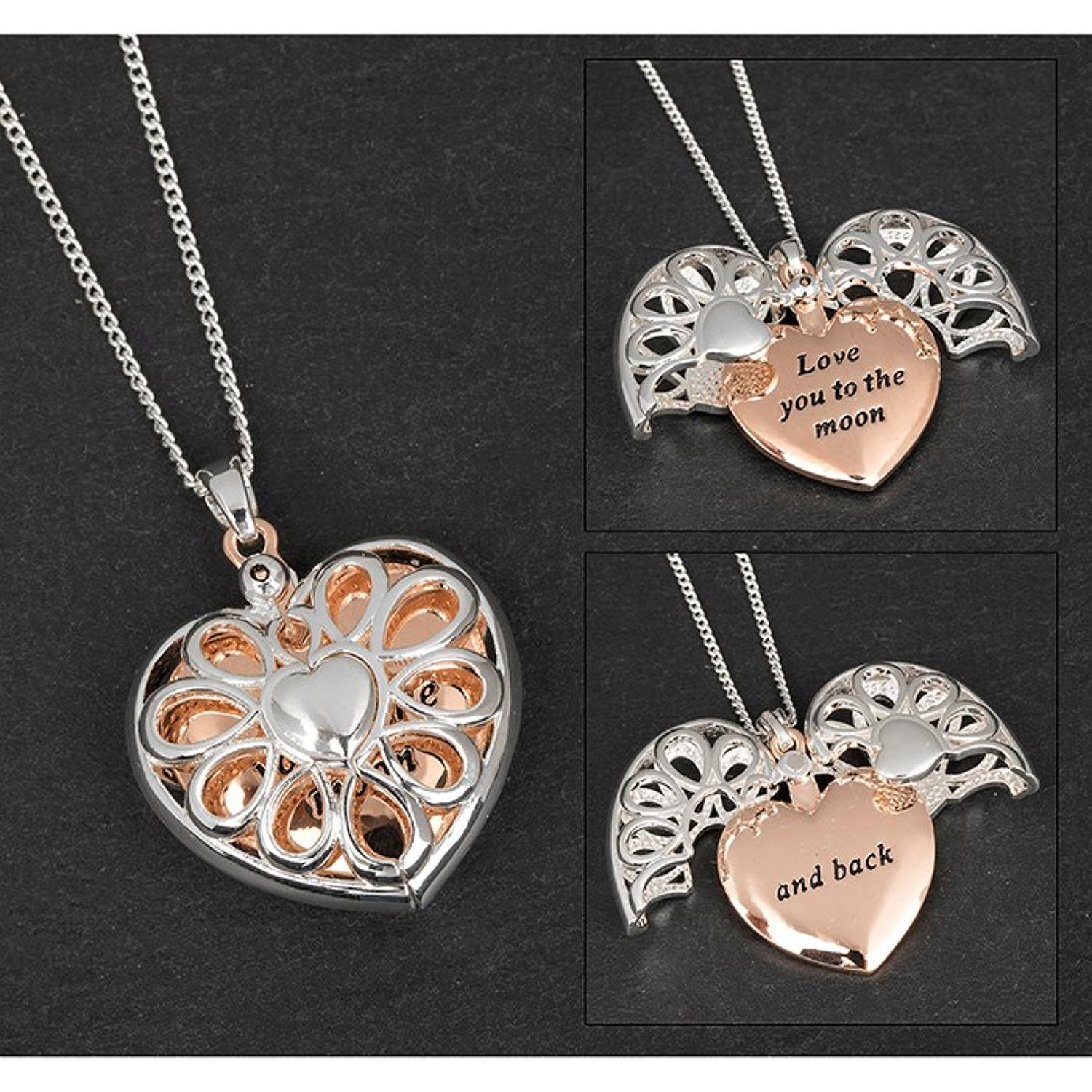 Love You To The Moon & Back Filigree Heart Necklace