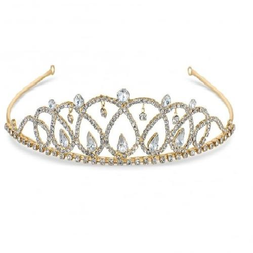 Sophia Gold Colour Crystal Tiara
