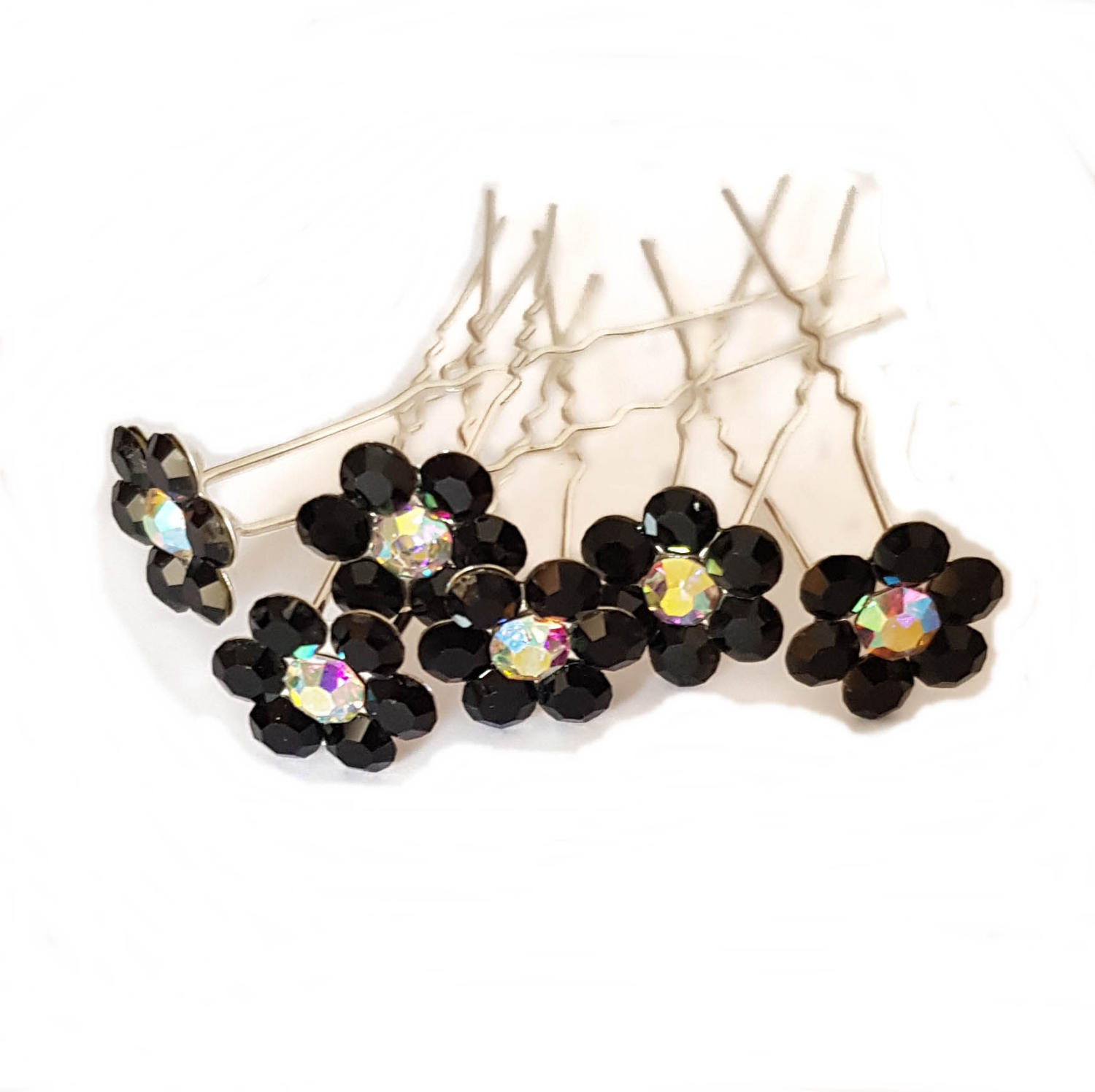Black Crystal Flower Hair Pins